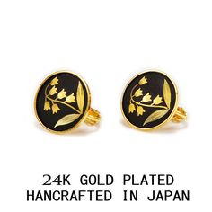 LILY OF THE VALLEY 3 MICRON 24 K GOLD PLATED SCREW LOCK EARRINGS MADE IN JAPAN #AMITA #Stud