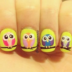 Owl nails Picture from ~~Nail art~~. Owl Nail Art, Owl Nails, Minion Nails, Funky Nail Art, Funky Nails, Cute Nails, Pretty Nails, Plain Nails, Nail Art Pictures