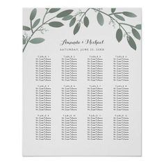 Shop Elegant Eucalyptus Garden Wedding Seating Chart created by kat_parrella. Table Seating Chart, Seating Chart Wedding, A Table, Reception Seating, Elegant Wedding, Floral Wedding, Rustic Wedding, Wedding Posters, Butterfly Wedding