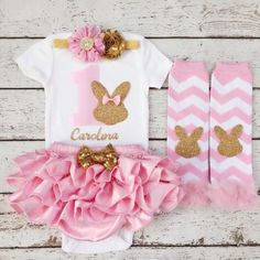 First Birthday Outfit/Easter Bunny/First by BabyTrendzz