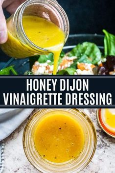 This Homemade Honey Dijon Vinaigrette Dressing recipe is super easy, ready in only 5 minutes and requires no cooking. This honey mustard dressing is great with salads, wraps, veggies, or as a marinade Plats Healthy, Honey Mustard Dressing, Honey Mustard Vinaigrette, Balsamic Vinegarette, Cooking Recipes, Healthy Recipes, Honey Recipes, Healthy Salads, Salt Free Recipes