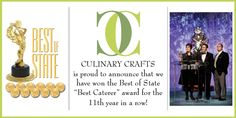 Culinary Crafts has won the Best Caterer award from Best of State for the 11th year in a row!  Huzzah! http://www.culinarycrafts.com/?p=8399