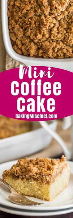 This Mini Coffee Cake is light and fluffy with an insane buttery, crunchy, crumbly streusel layer over the top. It serves four, but you might not want to share. Mug Recipes, Sweet Recipes, Cake Recipes, Cooking Recipes, Small Desserts, Mini Desserts, Just Desserts, Small Batch Baking, Cookies