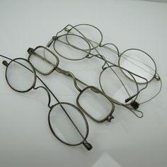 SALE Antique Eyeglasses 4 Pairs 18-19th Century Georgian Victorian Spectacles. Props Steampunk Supplies. Repurpose Restore. Sliding Temples