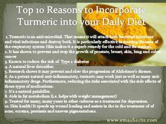 Top 10 Health benefits/reasons to take Turmeric(Curcumin)