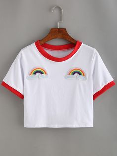 Shop Contrast Trimmed Rainbow Patch Crop T-shirt online. SheIn offers Contrast Trimmed Rainbow Patch Crop T-shirt & more to fit your fashionable needs. Crop Top And Shorts, Long Sleeve Crop Top, T-shirt Crop, Rainbow Crop Top, White Rainbow, White Cotton T Shirts, Cotton Tee, White Tees, Summer Crop Tops