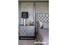 Tone-on-tone textures with more geometrics add elegance in the master bedroom.   See more of this home in OUR HOMES Vaughan Spring 2016: http://www.ourhomes.ca/articles/build/article/forest-sight-lines-dictate-design-of-nobleton-home