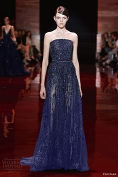 elie saab 2013 2014 fall couture strapless beaded blue navy gown