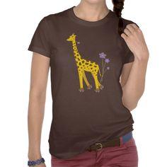 Funny Giraffe Roller Skating Dark Female #Shirt $28.95