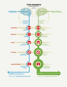 Exploring Two Mindsets #infographic  Interesting illustration of a closed minded person vs an open minded individual