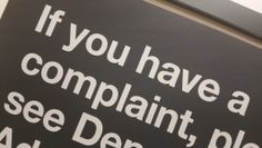 If You Have Complaints