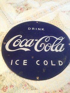 "RARE Vintage Blue Coca Cola Porcelain Sign Coke 14"" Diameter Great Color | eBay"