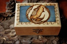 Huginn and Muninn wood box.