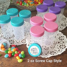 Excited to share the latest addition to my #etsy shop: 20 Empty Party Pill Candy JARS Plastic Container Pink Purple Aqua Caps Doc McStuffins Party DecoJars #4314 http://etsy.me/2nJYVOy #supplies #birthday #partygifting #plasticjars #screwcaps #tinyjars #smalljars