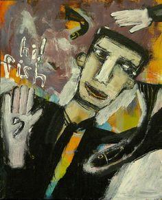 Fish Whisperer Outsider T Marie Nolan Raw Folk Art Brut Painting Original | eBay