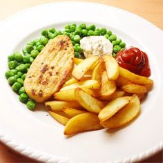 Lunch: a fried quorn filet and oven baked potato wedges served with peas, low fat creme fraiche and reduced sugar ketchup  (268 calories) #Padgram