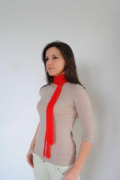 Red skinny scarf with fringe, Fringe skinny scarf, Long skinny scarf, Knitted summer scarf, Red fabric necklace, Boho scarf