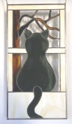 How beautiful! Stained glass cat piece