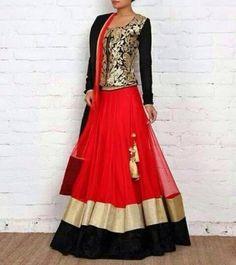 Red net lehenga with black velvet and gold border with black full length blouse having gold colour thread work