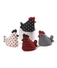 These beanbag roosters feature soft designs and playful shapes that are fun to toss about.