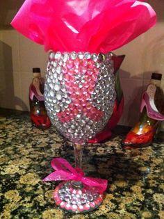 Rhinestone Bling Wine Glass. $30.00, via Etsy. Want it!!