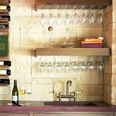 Wet bar - Design Your Wine Room: Storage and Display Tips - Sunset Wine Glass Storage, Wine Glass Shelf, Wine Glass Holder, Glass Shelves, Wine Wall, Hanging Wine Glass Rack, Bar Shelves, Storage Shelving, Open Shelves