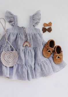 Pretty Handmade Tiered Linen Baby Toddler Boho Twirl Dress Spring Summer Baby Girl Outfit | DannieandLilou on Etsy #linen #babygirloutfit Outfits Niños, Baby Outfits, Baby Girl Dresses, Kids Outfits, Dress Girl, White Outfits, Trendy Baby Clothes, Baby Kids Clothes, Baby Girl Clothes Summer