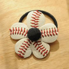 Simple Little Black Button Baseball Ponytail Holder Party Ideas by MyRubyGirldotCom