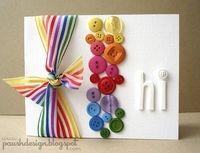 Tarjeta Botones y listón rainbow