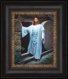 He Lives - Framed | I am the resurrection, and the life. he that believeth in me, though he were dead, yet shall he live. ~ John 11:25  #lds #mormon #christ #jesus #ldsart #ldsbookstore Images Bible, Pictures Of Jesus Christ, Jesus Christ Images, Jesus Art, Images Gif, Lds Art, Jesus Is Lord, Christian Art, Religious Art