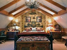 Happy Hollow: A Gambrel-Style House & Guest Cottage warm and cozy cottage with wallpaper detail