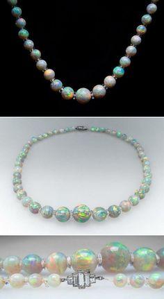 1900's Antique Crystal Opal Bead Necklace with Platinum Diamond Clasp & Quartz