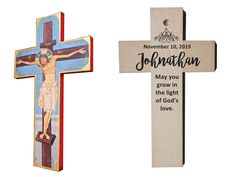 Personalized Baptism Cross, Jesus svg, Baptized in Christ, Wood wall cross, god gift Catholic Crucifix, Name Day, Jesus On The Cross, Wall Crosses, First Holy Communion, Text You, Wood Wall, Prayers, Christian