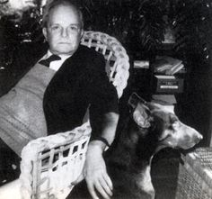 August 23, 1984: The last picture of the most photographed writer of his generation, taken at Joanne Carson's house in Los Angeles, with Joanne's Doberman, Cinnamon.