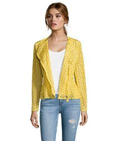Moncleryellow cotton lace embroidered 'Majorelle' asymmetrical zip jacket