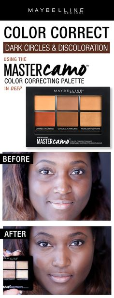 Color correct deep skin to perfection with Maybelline Master Camo Color Correcting Palette!  Cover dark circles and discoloration with the color correcting shades, conceal imperfections with the concealer shades and highlight the skin for an extra glow with the highlighting shades.  Perfect skin in three easy steps!