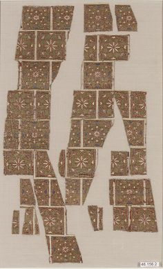 Object Name:      Fragment  Date:      13th century  Geography:      Spain  Medium:      Silk, metal-wrapped thread; taqueté  Dimensions:      Textile: L. 6 1/2 in. (16.5 cm) W. 8 in. (20.3 cm) Mount: L. 22 in. (55.9 cm) W. 16 in. (40.6 cm) D. 3/8 in. (1 cm)  Classification:      Textiles-Woven  Credit Line:      Fletcher Fund, 1946  Accession Number:      46.156.2