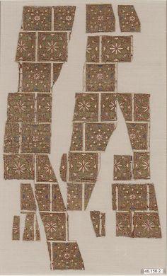 Textile Fragment from the Dalmatic of San Valerius, Spain (Islamic).  13th century.  Silk, metal-wrapped thread; taquete.  Metropolitan Museum of Art.