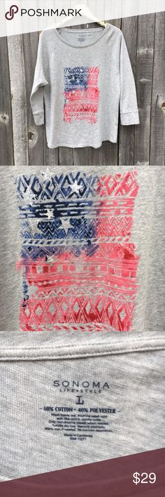 """{Sonoma} Boho American Flag 3/4 Sleeve Tunic L Like new! No flaws or sign of wear whatsoever! Perfectly on trend and Boho, spice up your wardrobe for the Fourth of July with this Aztec style flag. Pretty, comfy cozy, and All American classic! Raglan style sleeves. Measurements: 24"""" pit to pit, 28"""" shoulder to hem length, 23"""" long sleeves (from collar). Content + Care: 60% Cotton, 40% Polyester. Machine wash cold inside out, tumble dry low. Offers warmly welcomed! Sonoma Tops Tunics"""