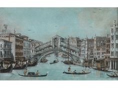 BLICK AUF DIE RIALTOBRÜCKE Gouache auf Papier. Sichtmaß: 14,3 x 23 cm. Im Passepartout, hinter Glas gerahmt. Vom Canal Grande aus leicht erhöhter...