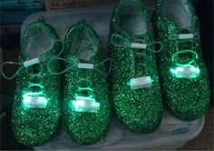 2013.. I made these using $10.00 Wal-Mart tennis shoes...spray painted green..layer of strong adhesive (got mine at Home Depot)...then added green glitter...I;ve had these for 3 years now and each year I add 2/3 more layers of glitter...I also added glow in the dark shoe laces (from Coolglow.com)....