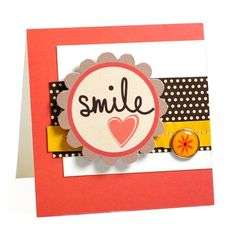 Find out how to make this bold smile card with Craft Asylum papers, embellishments and stamps set.
