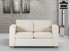 Skórzana sofa dwuosobowa beżowa - kanapa - HELSINKI