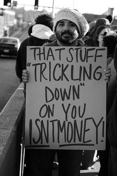This is all I can think of when people talk about trickle down economics. this idea that the economy only works if a handful of people have all the money. John Oliver, Jon Stewart, Stephen Colbert, Bernie Sanders, Caricatures, Trickle Down Economics, Comedy, Protest Signs, Lol
