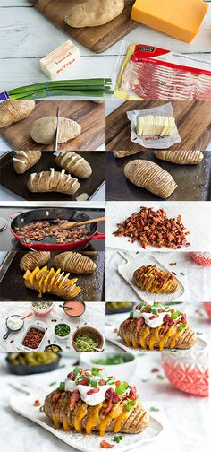 LOADED HASSELBACK POTATOES INGREDIENTS 6 medium russet potatoes 6 tablespoons salted butter 1 clove garlic, minced or grated 6 slices thick cut bacon, chopped 8 ounces sharp cheddar cheese, sliced 1/2 cup greek yogurt or sour cream 4 whole green onions, chopped 1/4 cup pickled jalapenos (optional) 1/2 cup guacamole (optional) 1/2 cup buffalo sauce (optional) 1/2 cup blue cheese, crumbled (optional)