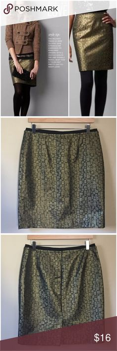 """LOFT Gold Metallic Animal Print Pencil Skirt Sz 10 Ann Taylor LOFT Gold Metallic Croc Animal Print Pencil Skirt  • size 10 • Fully lined in acetate • Shell is 61% polyester 20% metallic 19% rayon • Black grosgrain ribbon waistband • Back zipper  • 6"""" back vent • Pockets • 15"""" waist (flat) no stretch • 20.5"""" hips (flat) • 21.5"""" length  • Very good pre-loved condition, no imperfections LOFT Skirts Pencil"""
