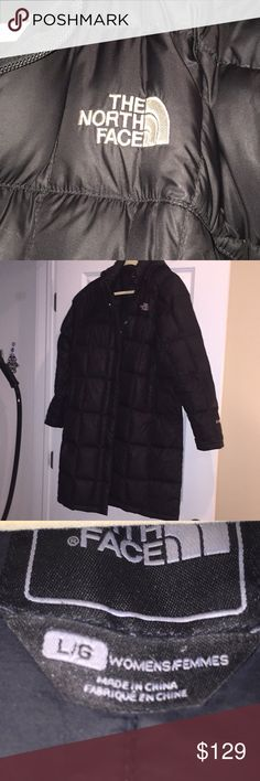 """North Face women long black winter jacket. Size L North Face women long black winter jacket. Size L. Coat has a hood that can be removed if you want to!   Zipper broke on this jacket but i have the piece so it can be fixed. I am 5""""4 and the jacket comes to my knees. The North Face Jackets & Coats Puffers"""
