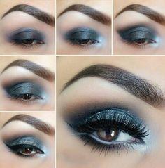 Imagen de makeup, eyes, and make up Golden Eye Makeup, Bright Eye Makeup, Dramatic Eye Makeup, Eye Makeup Steps, Blue Eye Makeup, Smokey Eye Makeup, Makeup Tips, Beauty Makeup, How To Apply Lipstick