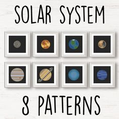 8 planets Cross Stitch pattern set NASA space solar door Stitchonomy