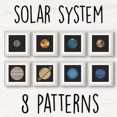 8 planets Cross Stitch pattern set NASA space solar by Stitchonomy